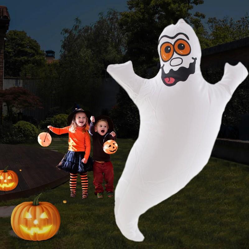 Fantoma gonflabila pentru Halloween, inaltime 43 cm, inel suspendare, alb