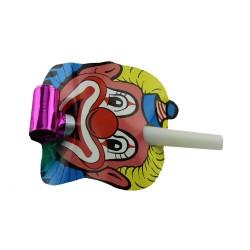 Suflatori spirala Clown pentru petrecere, set 3 bucati multicolore