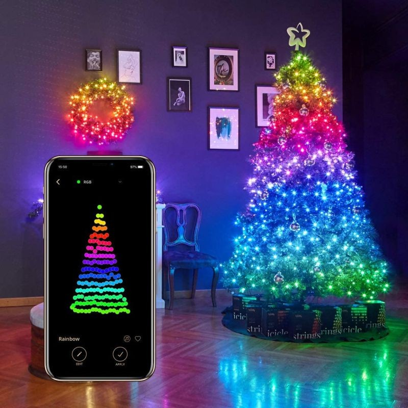Instalatie smart Twinkly 100 LED-uri RGB, control smartphone prin Wi-fi/Bluetooth, 8 m, IP44