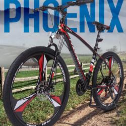 """Bicicleta MTB Tornado, roti 26 inch, 21 viteze, cadru otel 17"""", suspensii furca, frane disc, Phoenix"""