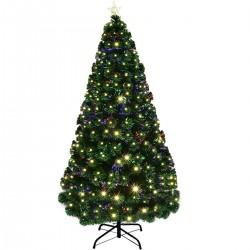 Brad de Craciun artificial, iluminat cu fibra optica si LED-uri, 210 cm, lumineaza multicolor