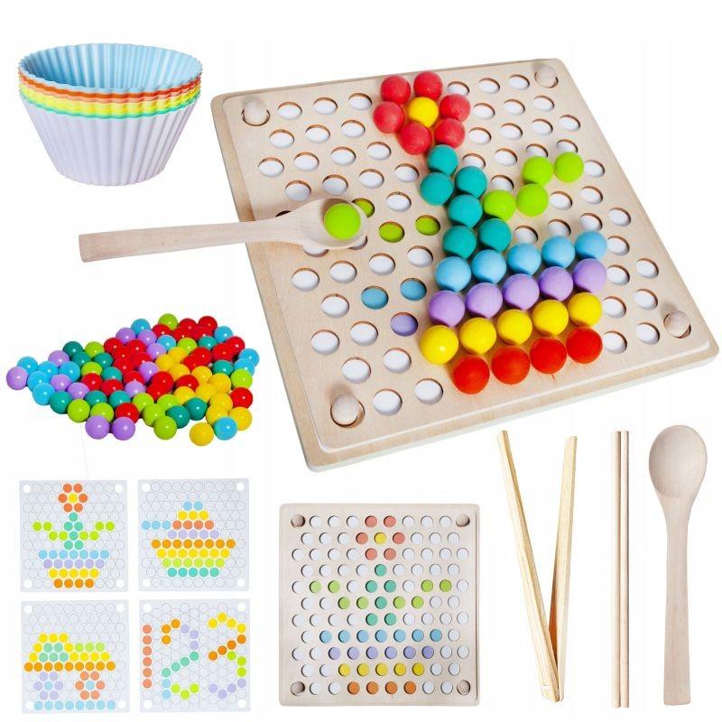 Puzzle tip Montessori cu margele colorate din lemn, accesorii incluse, dezvoltare motricitate si memorie