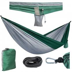 Hamac dublu pentru camping, 260x140 cm, sarcina maxima 150 kg, cusaturi triple, husa depozitare