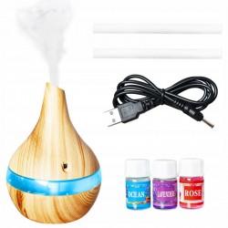 Difuzor aromaterapie 300ml, umidificator reincarcabil USB, iluminat LED 7 culori, uleiuri parfumate, buton tactil, natur