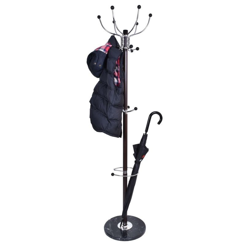 Cuier metalic tip pom, 179 cm,16 brate, suport pentru umbrela, baza marmura