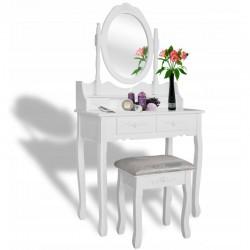 Set masa de toaleta pentru machiaj, scaun, oglinda ovala, 4 sertare, design vintage, alb