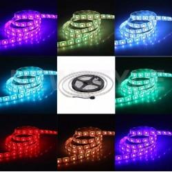 Banda LED auto decorativa RGB+NW 5050, 72W, 12V, lungime 5m, autoadeziva, interior, IP20