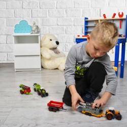 Set 6 utilaje de jucarie pentru ferma, tractoare, remorci, masini agricole pentru copii