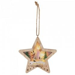 Figurina stea pentru geam sau usa, 6 LED-uri, temporizator, lemn, inaltime 17 cm