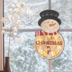 Decor fereastra Om de zapada iluminat LED, temporizator, alimentare baterii, lemn, 21 cm
