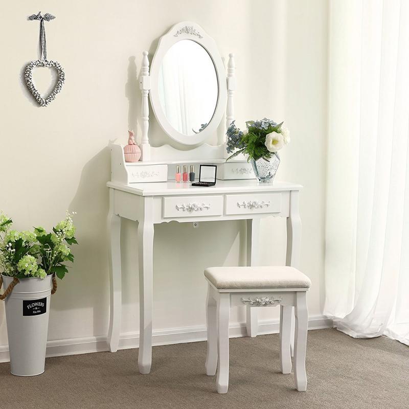 Set masa de toaleta pentru machiaj 74x143x40 cm, scaun, oglinda ovala, 4 sertare, design vintage, alb
