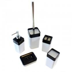 Set accesorii baie, 5 piese, acril, design elegant, alb-negru