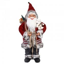 Mos Craciun decorativ, inaltime 90 cm, sac cadouri, ursulet, figurina autentica