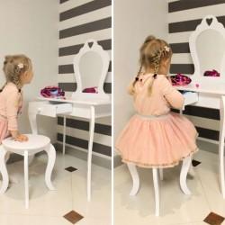 Set masa de toaleta si scaun pentru fetite, oglinda, sertar, lemn alb cu design vintage