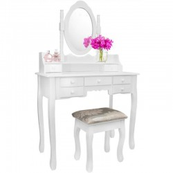 Set masa de toaleta pentru machiaj, scaun tapitat, oglinda mare, 7 sertare, alb