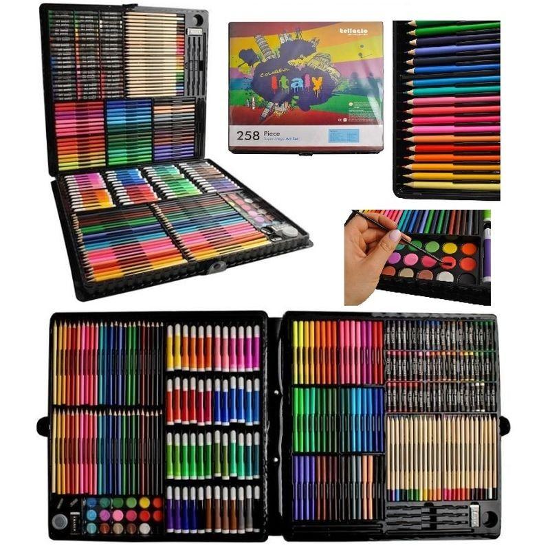 Trusa desen si pictura pentru copii, 258 piese, acuarele, creioane, pensule, carioci, valiza depozitare