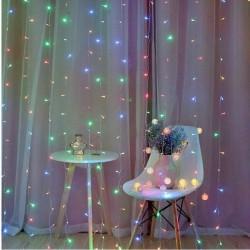 Instalatie tip perdea 3x3 m, 300 LED-uri multicolore, interior/exterior, 8 moduri iluminare
