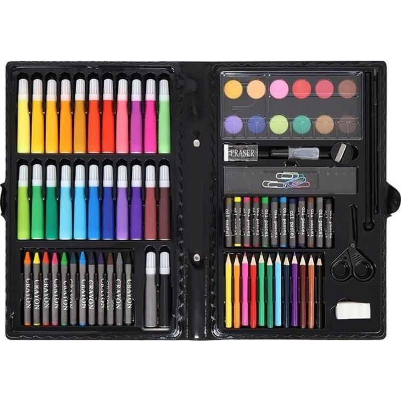 Set pictura si desen 86 piese, valiza depozitare, creioane colorate, carioci, acuarele