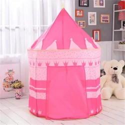 Cort tip castel pentru fetite, husa depozitare, 135x105 cm, model buline si coronite, roz