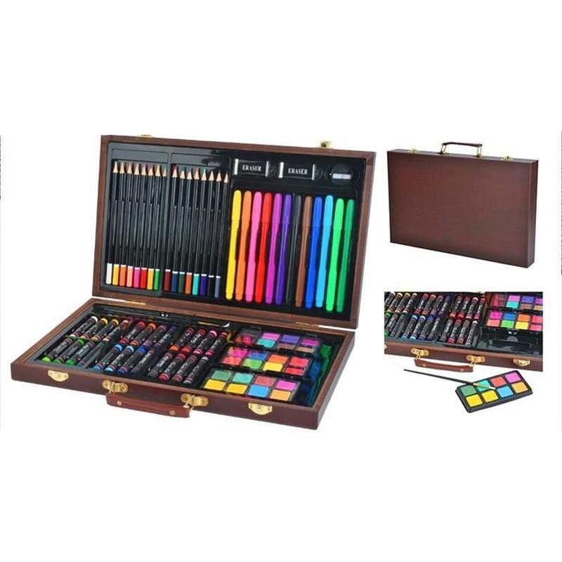 Trusa desen si pictura 81 elemente, carioci, creioane, acuarele, servieta din lemn