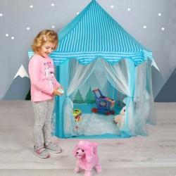 Cort copii, Castel 135x140 cm, forma hexagonala, cadru pliabil, 6 intrari, albastru