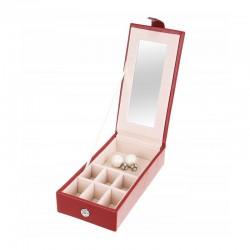 Caseta pentru ceasuri si bijuterii, compartimente pe 2 nivele, inchidere cheie, design elegant, 25x30 cm