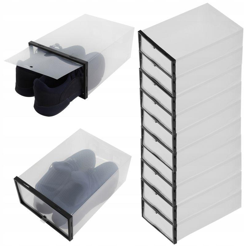 Set 10 cutii depozitare incaltaminte, 37x24x14 cm, clapeta inchidere, transparent