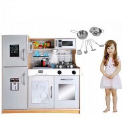 Bucatarie pentru copii, din lemn 80x80.5cm, ustensile, lampa LED, aragaz, cuptor, telefon, chiuveta