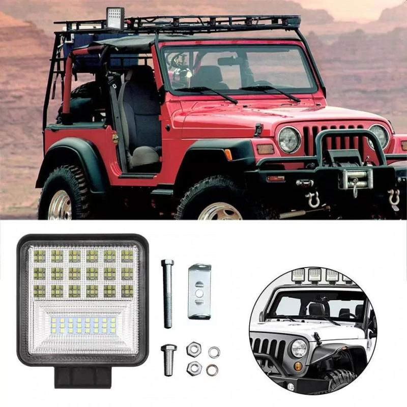 Proiector LED SMD auto OffRoad 126W indicator, 10-60V DC, 8820lm, Flood Beam 30 si 60 grade, IP67, carcasa aluminiu