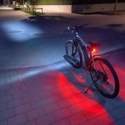 Set far si stop pentru bicicleta, lumini LED siguranta, IP44, curea fixare, alimentare baterii
