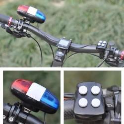 Sonerie tip sirena politie pentru bicicleta, 4 melodii, 6 LED-uri, controler, fixare ghidon