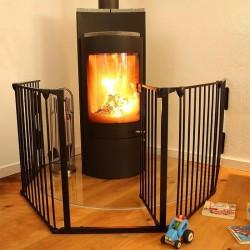 Gard de protectie semineu pentru copii, 304x74.5 cm, usa, Fireplace Guard metalic