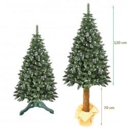 Brad artificial Pine Deluxe 190 cm, varfuri ninse si conuri, trunchi lemn autentic, aspect natural, suport inclus
