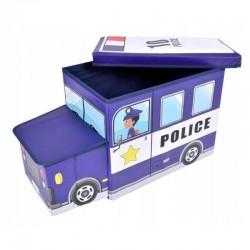 Cutie depozitare jucarii tip masina politie, 2 compartimente, pliabila, albastru