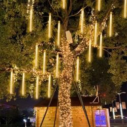 Instalatie tip meteori, 288 LED-uri alb cald, lumina curgatoare, 8 tuburi 50 cm, lungime 4.5 m, IP44