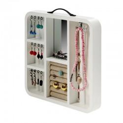 Organizator pentru bijuterii, oglinda, lemn alb, maner, role textil, 29.6x30x4 cm