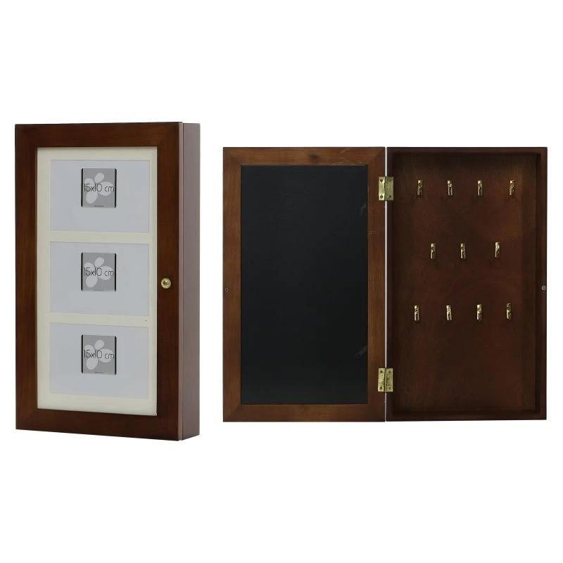 Cutie suport chei, personalizabila cu fotografii, 11 carlige metalice, lemn maro, fixare perete, 23x39.5x6.5 cm
