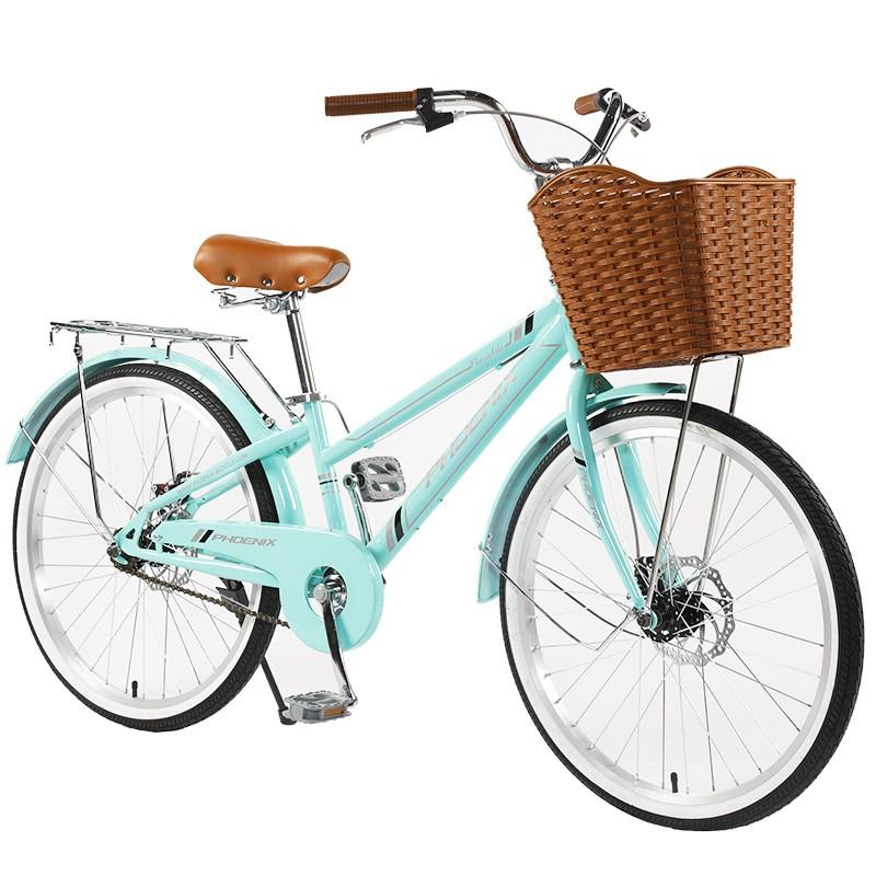 """Bicicleta dama cu cos, roti 24 inch, cadru otel 13"""", frane V-Brake, albastru deschis, Phoenix, resigilata"""