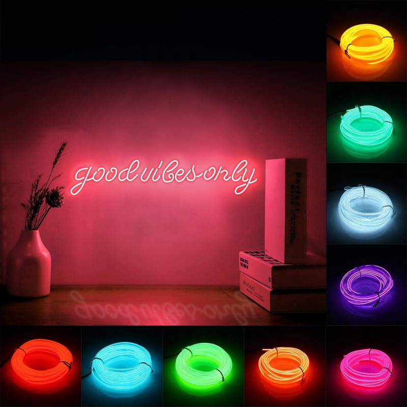 Fir electroluminescent El Wire neon, 2.8 mm, insertie metalica, permite modelare