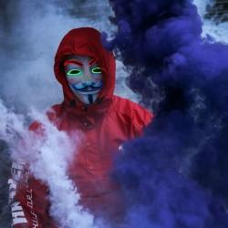 Masca Anonymous luminoasa, El Wire multicolor, 3 moduri iluminare, marime universala
