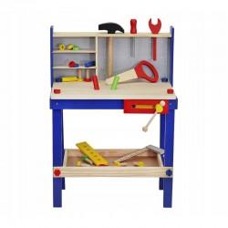 Atelier cu banc de lucru pentru copii, 30 unelte de lemn, 33x46x64.5 cm