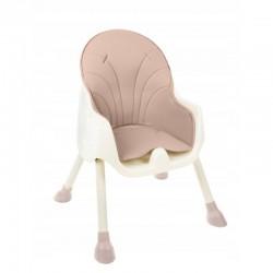 Scaun masa pentru bebelusi 2 in 1, centuri in 5 puncte, pliabil, tava, 60x92x75 cm, roz pudra