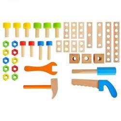 Banc de lucru cu menghina din lemn pentru copii, 40 unelte, surubelnita, ciocan, suruburi, 16.5x26x25 cm