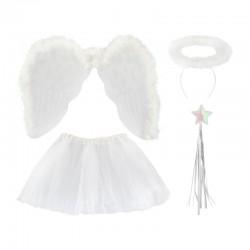 Costum de ingeras pentru fetite, 4 piese, tul, bagheta, 3-10 ani, alb