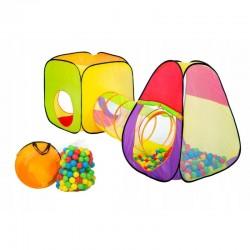 Cort cu tunel pentru copii, 200 bile colorate, husa depozitare, interior/exterior