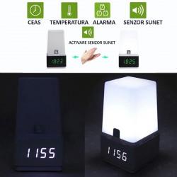 Lampa de birou cu ceas, senzor sunet, luminozitate reglabila, control touch