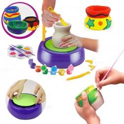 Roata olarului pentru copii, 2 viteze, lut, vopsele colorate, pensule, joc interactiv