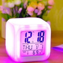 Ceas digital iluminat LED, temperatura, calendar, functie alarma, 8 melodii