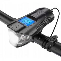 Set stop si far pentru bicicleta, cu kilometraj LCD 5 functii, 4 moduri iluminare, reincarcabile microUSB