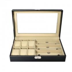 Caseta pentru ceasuri si bijuterii, 9 compartimente, inchidere cu cheie, design elegant